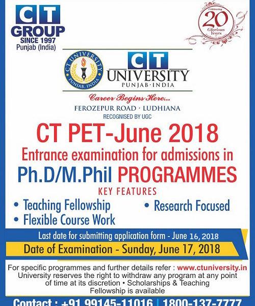 CTU PH D/M PHIL ENTRANCE TEST JUNE-2018 - CTU